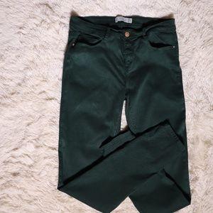 Zara Trafaluc Collection Green Denim Jegging Jeans